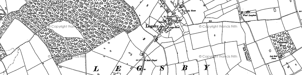 Old map of Wood Langham in 1886