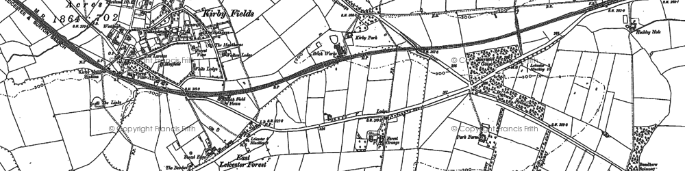 Old map of Leicester Forest East Service Area in 1885