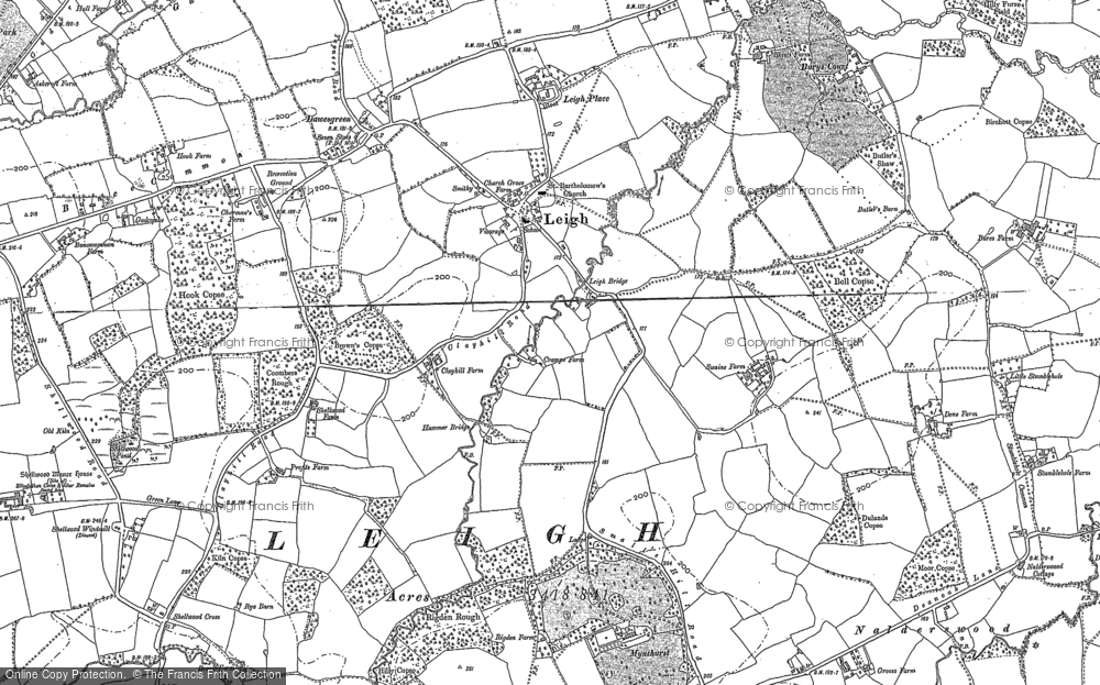 Old Map of Leigh, 1895 in 1895