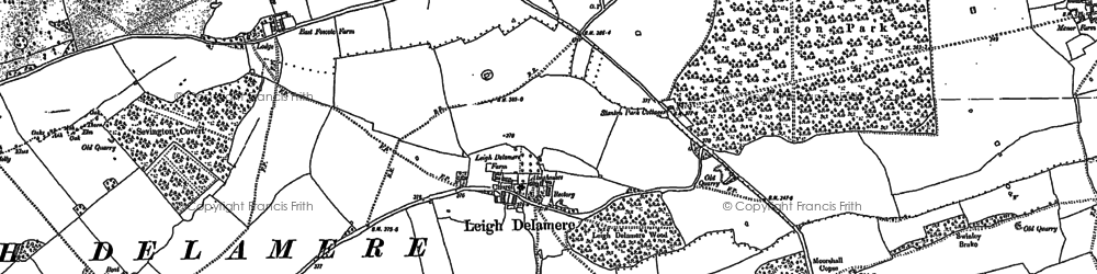 Old map of Leigh Delamere in 1899