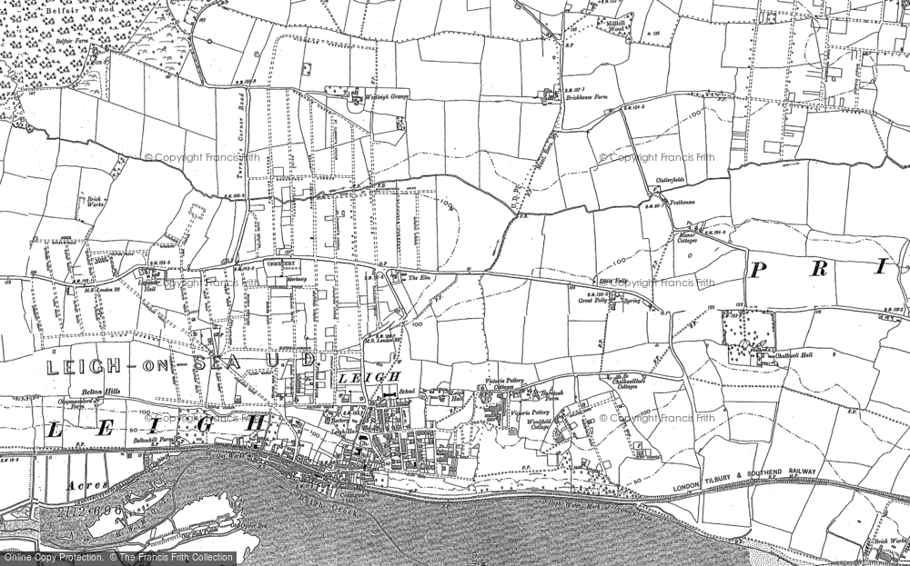 Old Map of Leigh-on-Sea, 1895 in 1895