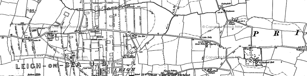 Old map of Leigh Sand in 1895
