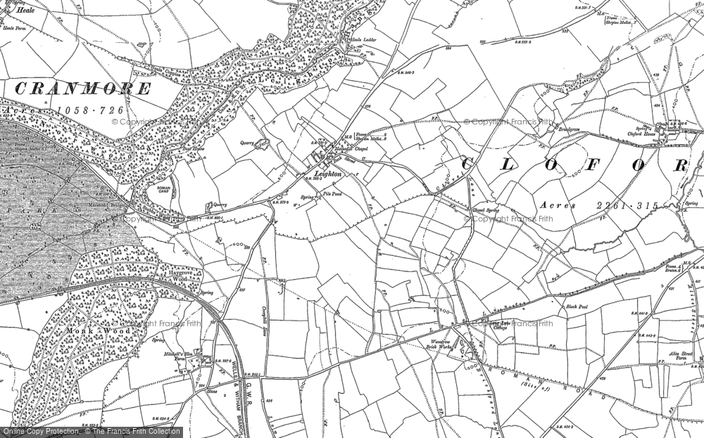 Old Map of Leighton, 1884 in 1884