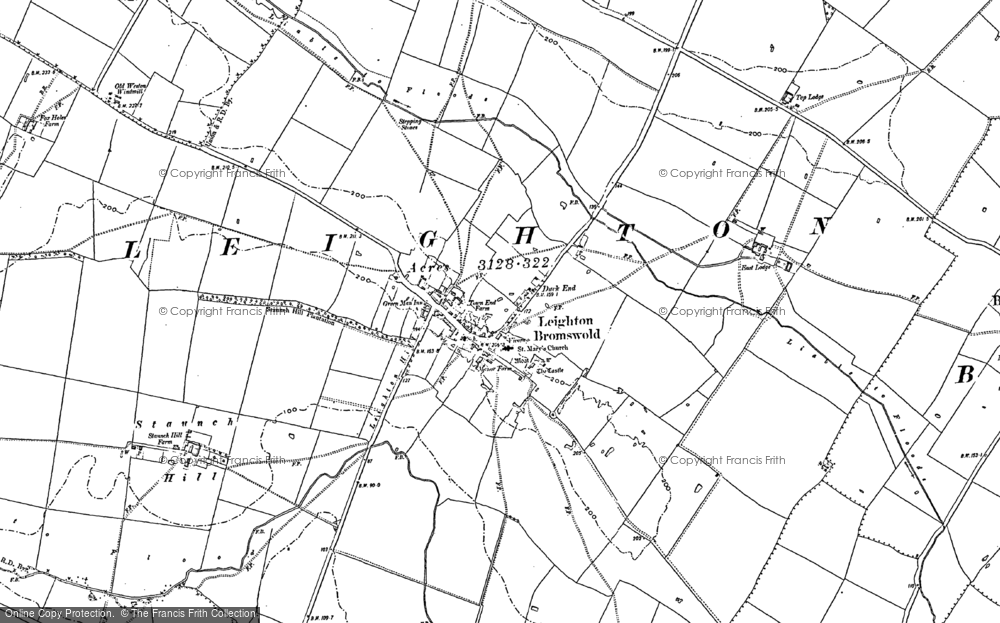 Map of Leighton Bromswold, 1887 - 1900