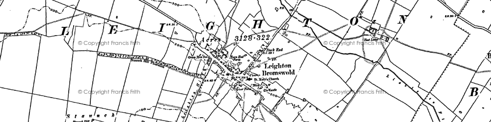 Old map of Leighton Bromswold in 1887