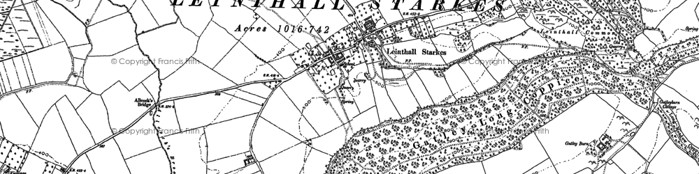 Old map of Leinthall Starkes in 1884