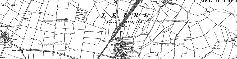 Old map of Leire in 1901