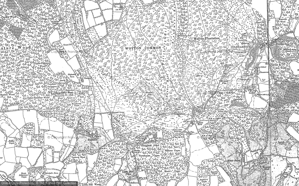 Old Map of Historic Map covering Leith Hill Place in 1895