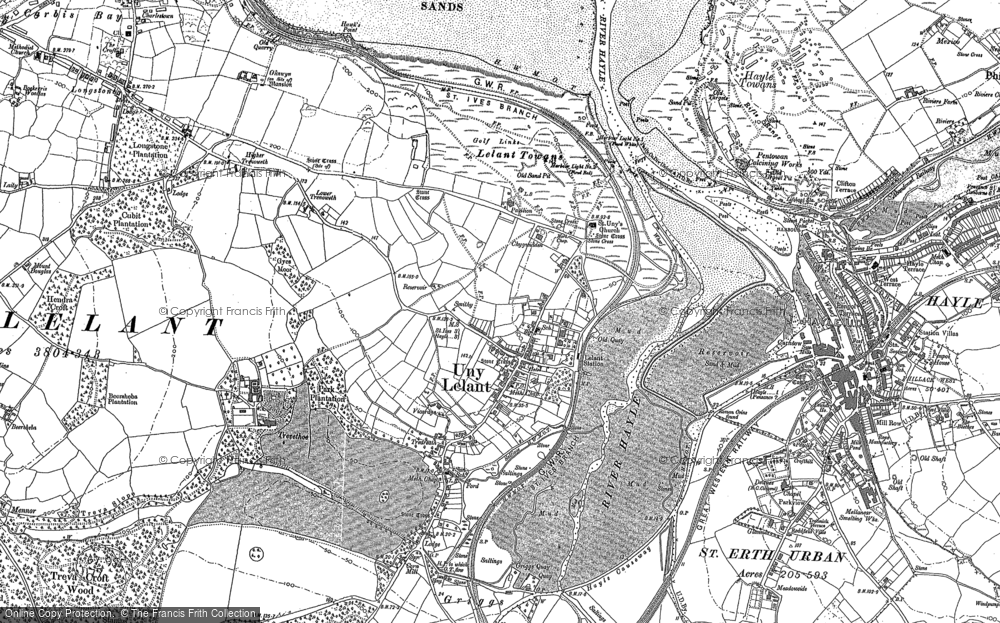 Old Map of Lelant, 1877 - 1906 in 1877