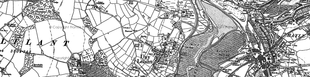 Old map of Lelant Saltings Sta in 1877