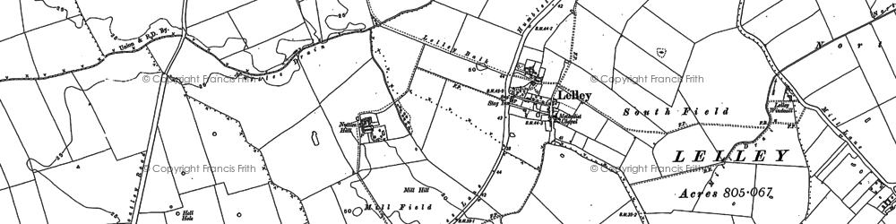 Old map of Lelley in 1889