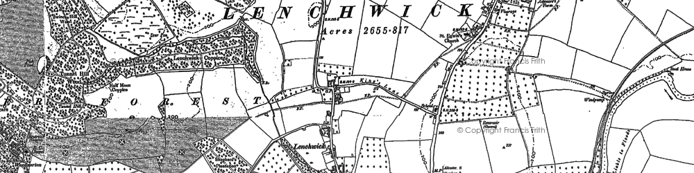Old map of Lenchwick in 1884