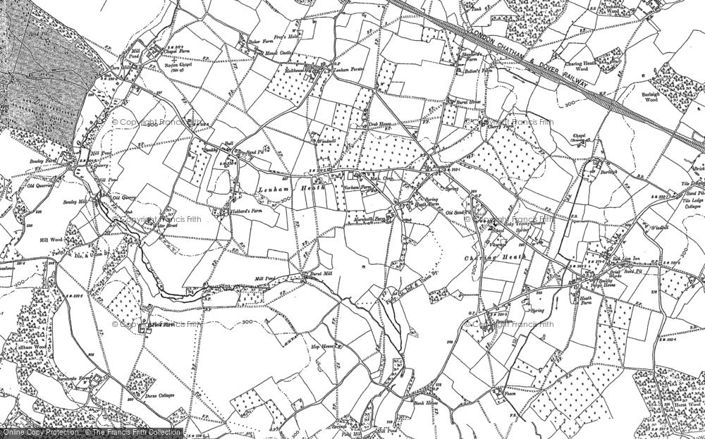 Old Map of Lenham Heath, 1896 in 1896