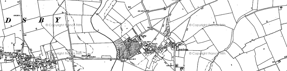 Old map of Lenton in 1886