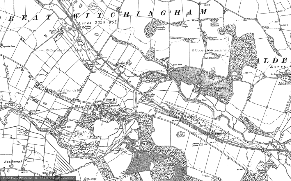 Old Map of Lenwade, 1882 in 1882