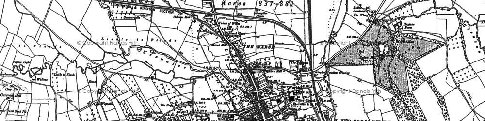 Old map of Leominster in 1885