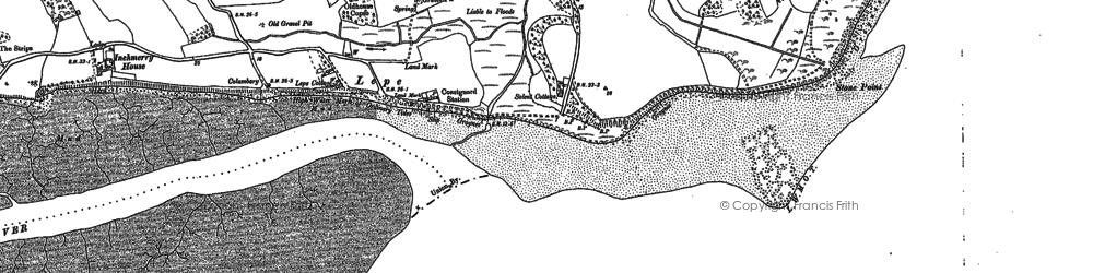 Old map of Lepe Country Park in 1895
