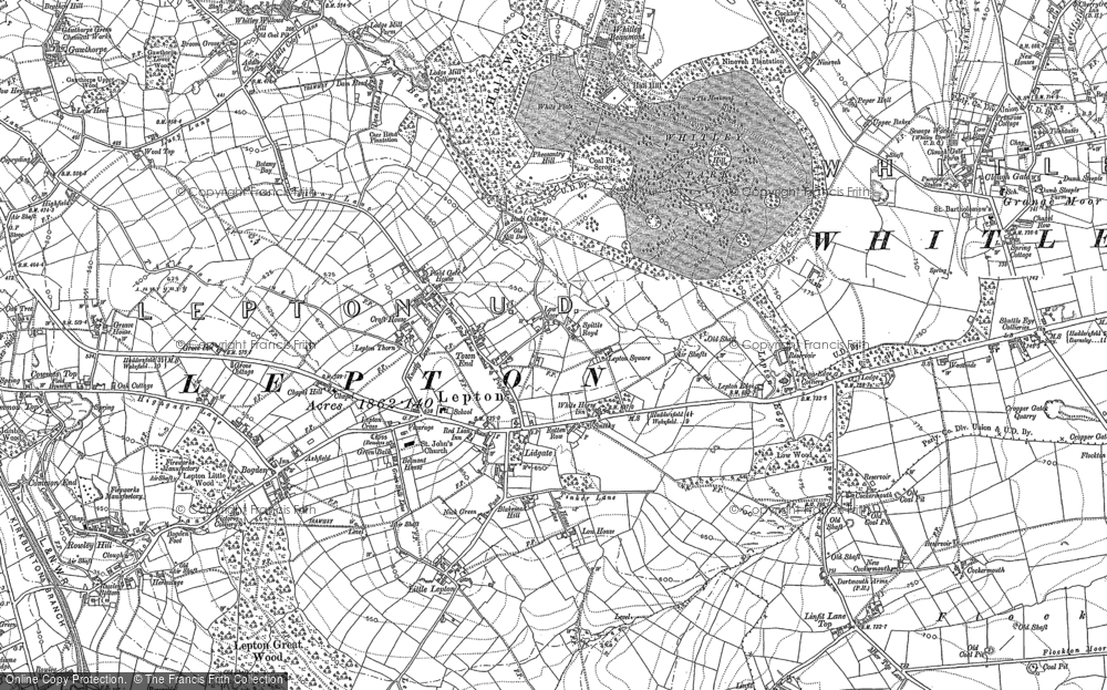 Old Map of Lepton, 1888 - 1892 in 1888