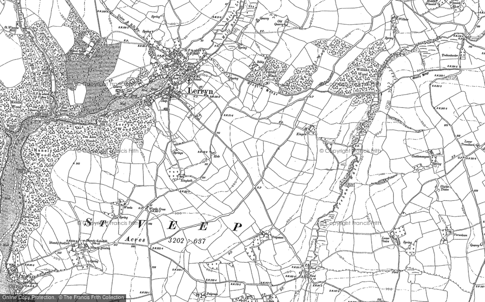 Old Map of Historic Map covering Langunnett in 1881
