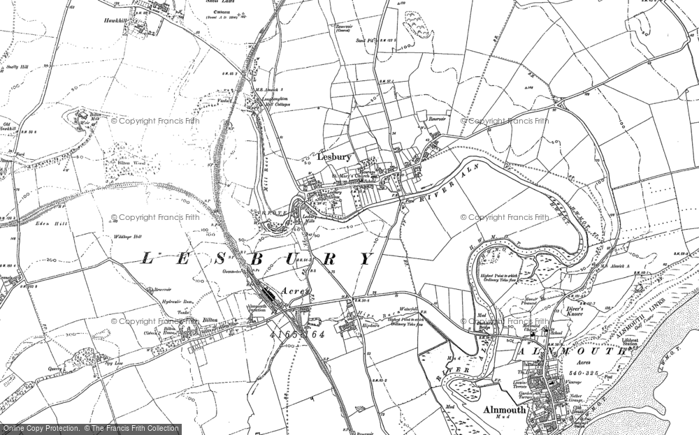 Old Map of Lesbury, 1896 - 1897 in 1896