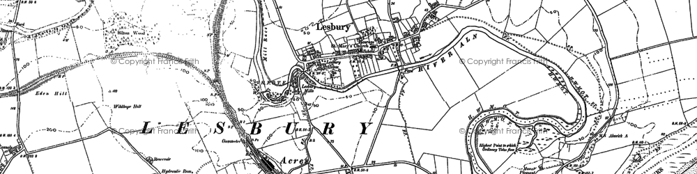 Old map of Lesbury in 1896