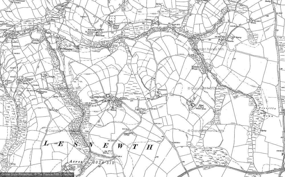 Old Map of Lesnewth, 1882 - 1905 in 1882