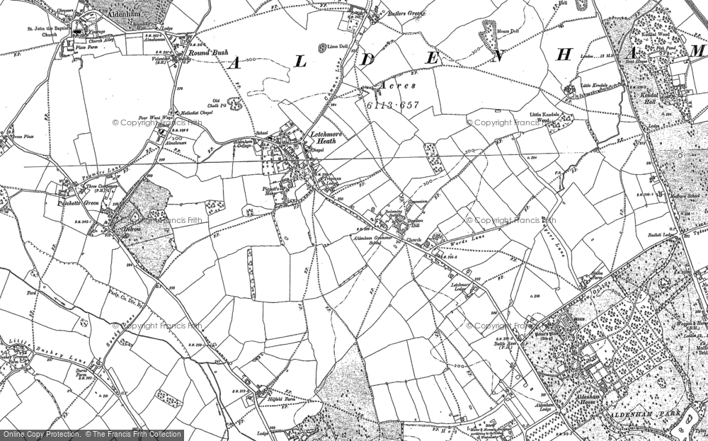 Old Map of Historic Map covering Aldenham School in 1896