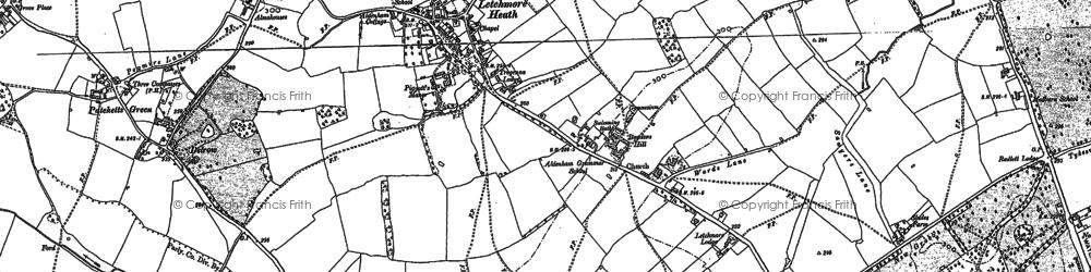 Old map of Aldenham School in 1896