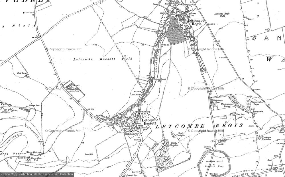 Map of Letcombe Bassett, 1877 - 1910