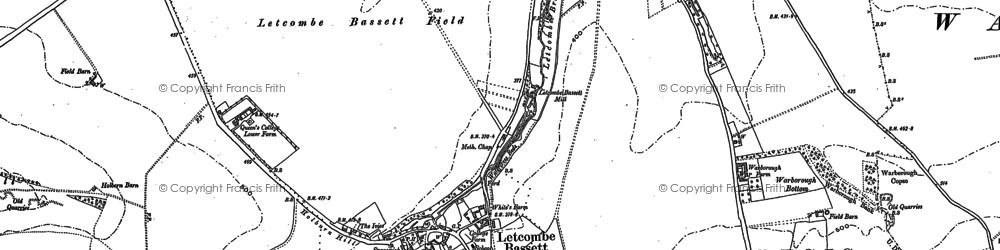 Old map of Letcombe Bassett in 1877