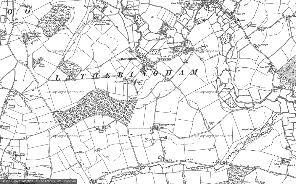Old Map of Letheringham, 1883 in 1883