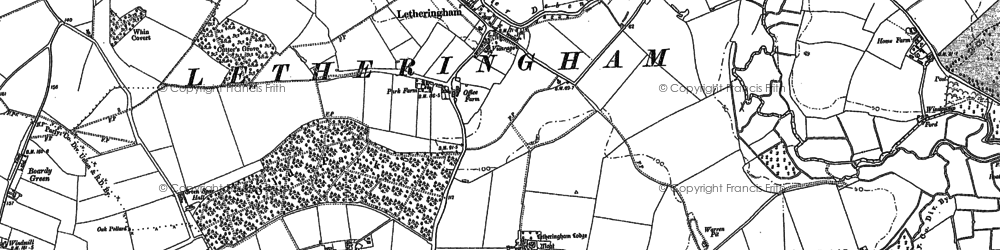 Old map of Letheringham in 1883