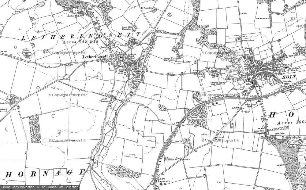 Old Map of Letheringsett, 1885 - 1901 in 1885