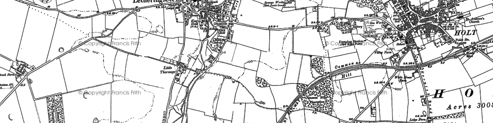 Old map of Letheringsett in 1885