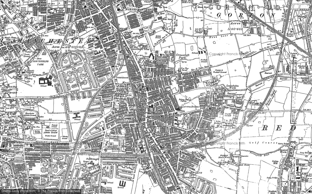 Map of Levenshulme, 1890 - 1906