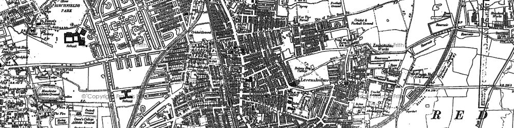 Old map of Levenshulme in 1890