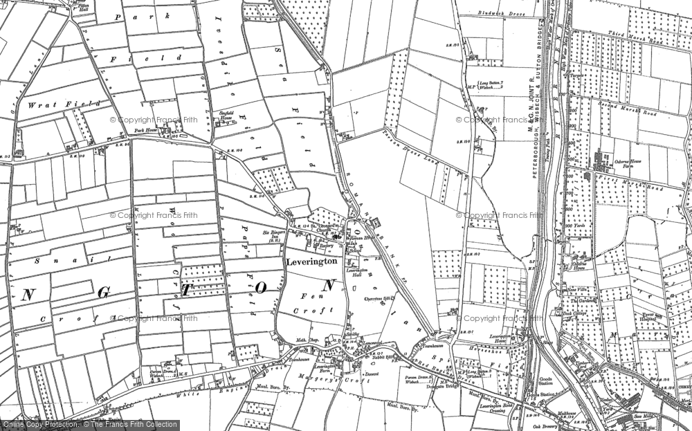 Old Map of Leverington, 1900 - 1901 in 1900