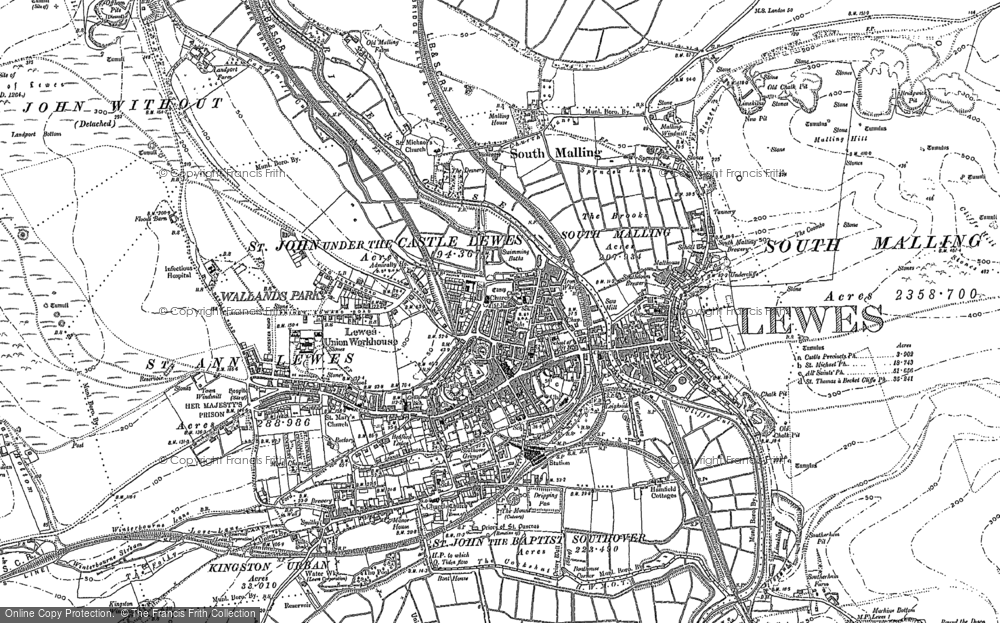 Map Of Lewes Map of Lewes, 1898   Francis Frith Map Of Lewes