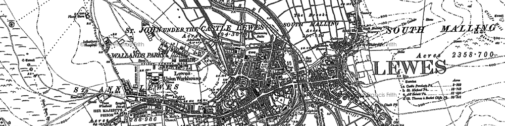 Old map of Lewes in 1898