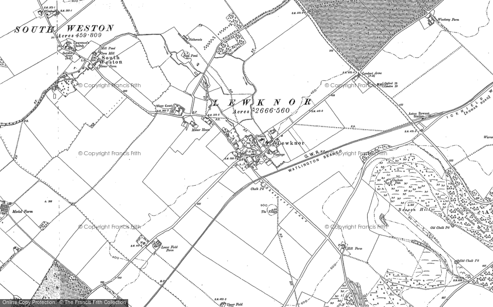 Old Map of Historic Map covering Aston Rowant National Nature Reserve in 1897