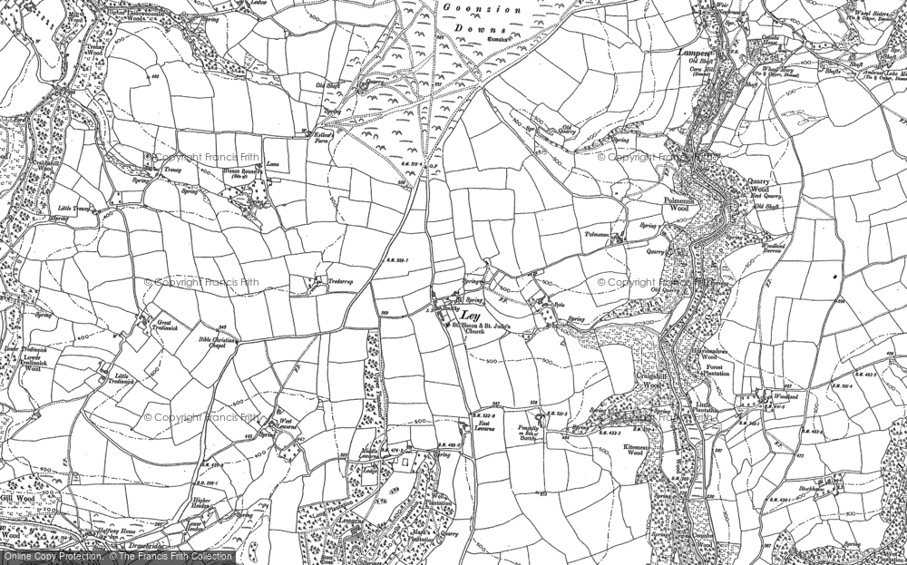 Old Map of Ley, 1881 in 1881
