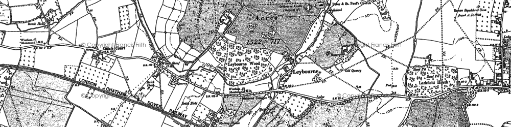 Old map of Leybourne in 1895