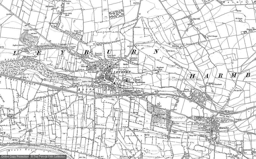 Old Map of Leyburn, 1891 in 1891