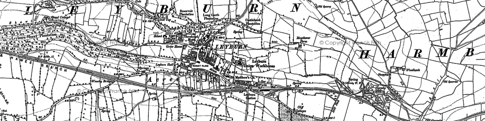 Old map of Leyburn in 1891