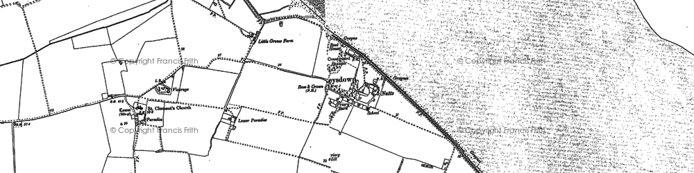Old map of Leysdown Marshes in 1906