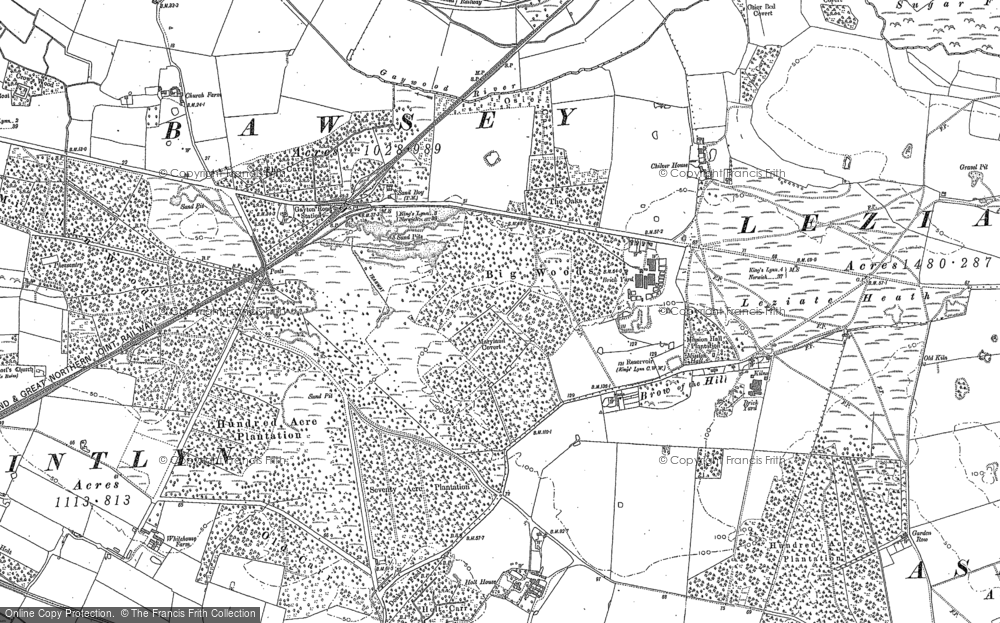 Old Map of Leziate, 1884 in 1884