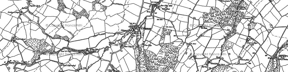 Old map of Libanus in 1882
