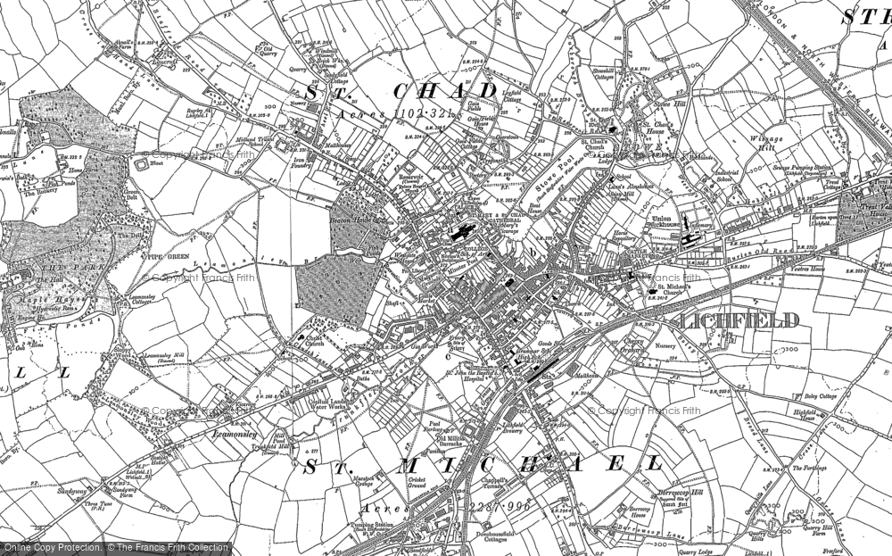 Old Map of Lichfield, 1882 - 1883 in 1882