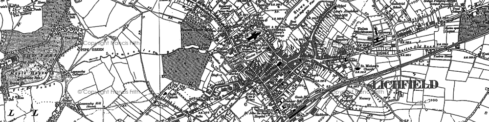 Old map of Lichfield in 1882