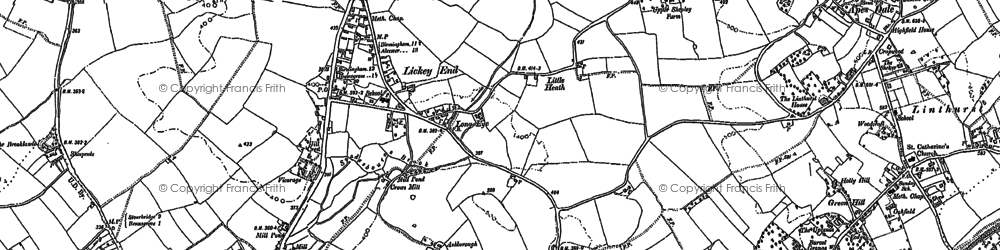 Old map of Lickey End in 1896